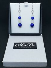 Handmade earrings with Sterling Silver White Jade & Lapis Lazuli.