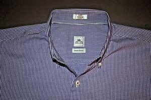 PETER MILLAR SEASIDE FINISH Men's L/S Button Down Shirt Purple Plaid Size Large