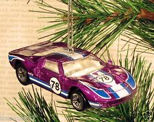 FORD GT-40 Race Car CHRISTMAS ORNAMENT Purple/White/Blue 78 racing XMAS