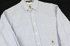 Tommy Hilfiger Striped Button Up Dress Shirt Blue Mens 15.5x33