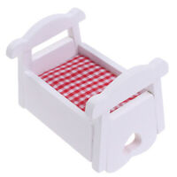 1:12 Dollhouse Miniature White Wooden Cardle Baby Bed Model Furniture Toys YK