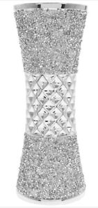 MILLIE Crushed Diamond Crystal Silver Ceramic Vase 25cm Leonardo