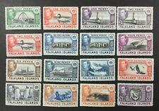 FALKLAND ISLANDS #84-96, 1938-46 set of 16, KGVI, FVF, MH. CV $361.20. (BJS)