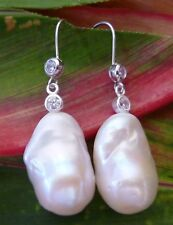 23mm WHITE KESHI PEARL EARRINGS 925 Silver Sheppard Hooks With 4mm Crystals