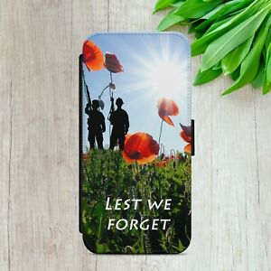 POPPY LEST WE FORGET GIFT FLIP WALLET PHONE CASE COVER FOR IPHONE SAMSUNG HUAWEI