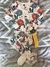 Tea Collection Footie Pajamas New NWT 90 3T Asian Theme Cranes Lotus Flowers