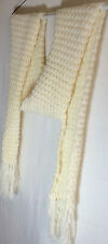 "NWOT ST JOHNS BAY THICK ACRYLIC KNITTED SHAWL 70"" X 7"" CREAM 6"" END TASSLES"