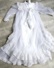 New Vintage 80s Christening Dress Size 18 Months Dedication Lace Baptismal Gown