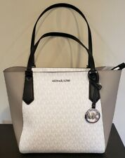 Michael Kors Kimberly Small Tote Grey Leather With White Signature
