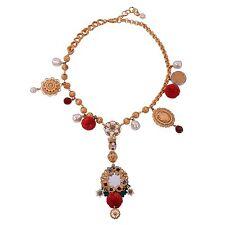 DOLCE & GABBANA RUNWAY Sicily Blumen Perlen Spiegel Kette Collier Gold Rot 05481