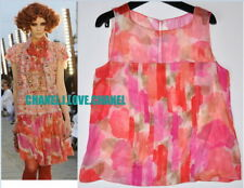 CHANEL 10C $1750 CAMELLIA CC PRINTED SILK MUSLIN PLEATED BLOUSE TOP,38/40,NEW