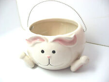 White Porcelain Rabbit Bunny Candy Nut Dish Wire Handle