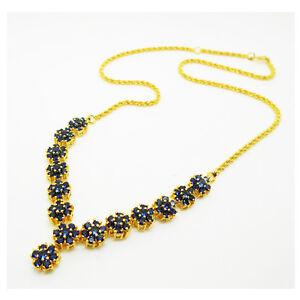 Set Blue sapphire Necklace, Bracelet, Earrings 24k Yellow Gold Plated Jewellery
