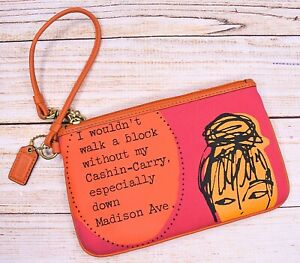 COACH Bonnie Cashin Pink Orange Kiss Lock Zipper WRISTLET PURSE Wallet