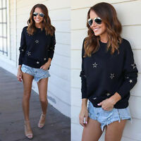 Fashion Women Casual Round Neck Long Pullover Sleeve Sweater Tops Blouse T Shirt