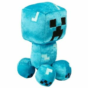 """Official JINX Minecraft Happy Explorer Charged Creeper (Blue) 7"""" Plush Toy"""