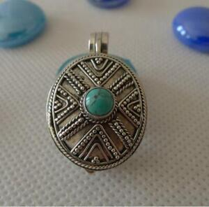 Sterling Silver Locket Pendant Turquoise SilverandSoul Handcrafted Jewellery