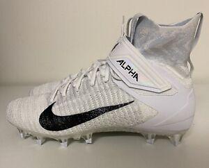 Nike Alpha Menace Elite 2 White Black Mens Sz 10 Football Cleats AO3374-101 NEW!