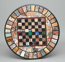 "36"" Marble Chess Table Top Pietra Dura Inlay Handmade Work Home Decor"