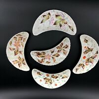 Vintage Crescent Bone Dishes Hand painted Porcelain Leaves & Flowers Set of 5