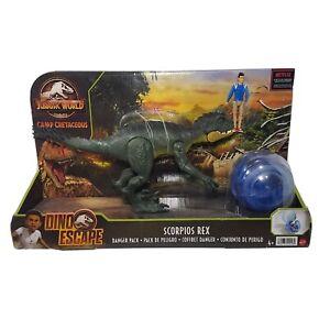 JURASSIC WORLD Camp Cretaceous Dino Escape Danger Pack Scorpios Rex W/ Kenji
