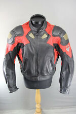 FRANK THOMAS BLACK & RED LEATHER BIKER JACKET WITH REMOVABLE ARMOUR 46 INCH XL