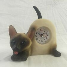 4th of JULY SALE Critter Clock Siamese Cat Tabletop Wagging Tail Kitten Kitty
