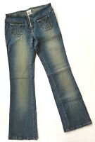 Z Cavaricci Low Rise Flare Bell Bottom Jeans Womens Size 7 Exposed Zipper NWOT