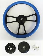 "65-69 Mustang Steering Wheel Sky Blue Grip on Black Shallow Dish 14"" Pony Center"