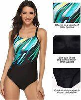 beautyin Women Athletic one Piece Swimsuit Sport, Dark Green, Size Large SE3s