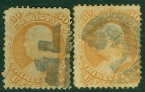 EDW1949SELL : USA 1861 Scott #71. 2 stamps. Used. Minor faults. Catalog $420.00.