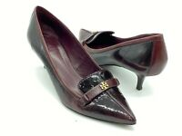 "TORY BURCH Maroon Buckle Glossy Leather Pointy Toe 2"" Heel Womens 9.5M"