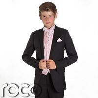 Boys Black Suit, Page Boy Suits, Prom Suits, Boys Wedding Suits, Pink Waistcoat