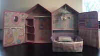 Zapf Baby Annabell Born Doll Luxury Bedroom Bed Wardrobe Pink Open up House Toy