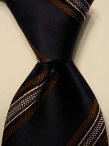 ERMENEGILDO ZEGNA Men's 100% Silk Necktie ITALY Luxury STRIPED Blue/Brown EUC