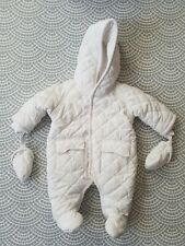 Mamas And Papas Newborn Snowsuit Pramsuit White Unisex Quilted Padded