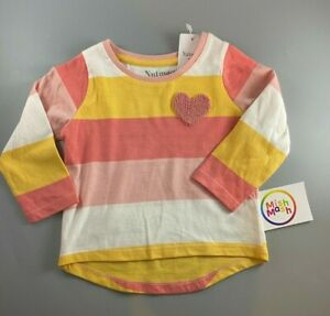 NEW nutmeg Cotton girls baby stripe Pink long sleeve t-shirt top heart 1 2 3 yrs
