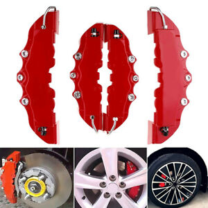 4× 3D Red Car Auto Disc Brake Caliper Covers Front & Rear Wheels Accessories Kit