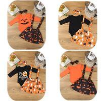 Newborn Baby Boy Girls Halloween Party Pumkin Cosplay Romper+Headband Skirt Set