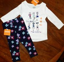 Legging Set Gymboree 2pc Navy White Girls Rule Girl size 0-3 months New