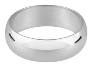 New Gents 9ct 375 white gold wedding ring 6mm wide size W  D shaped adjustable