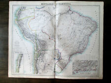 1870. SOUTH AMERICA. CENTRAL PART. Antique steel engraving BIG SIZE map.