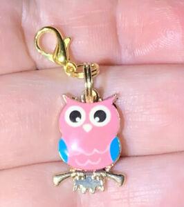 Gold Pink & Blue Owl Charm Zipper Pull & Keychain Add On Clip!!