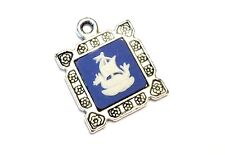 "Wedgwood Jewelry- Wedgwood Cameo in Pendant ""Dragon Ship"" Blue Jasperware"