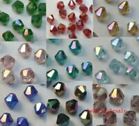100pcs Loose Glass Crystal Bicone AB Spacer Beads For Jewelry Making DIY 4MM