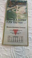 February 1929 Wilkens-Anderson Co Cardboard Calendar Swans Brown Bigelow