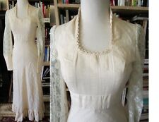 Vtg 70's cream prairie maxi wedding dress boho hippie lace chevron tiered Edward