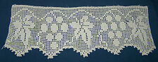 WIDE OFF WHITE COTTON HAND CROCHETED TRIM BORDER EDGING-GRAPES-LEAVES-FRUIT