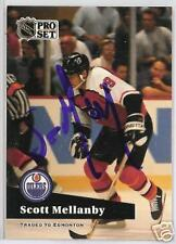 SCOTT MELLANBY Edmonton Oilers 1992 PROSET  AUTOGRAPHED HOCKEY CARD JSA