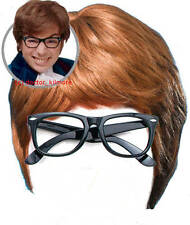 Austin Powers Fancy Dress Costume 2 piece Kit - Brown Wig and Black Glasses
